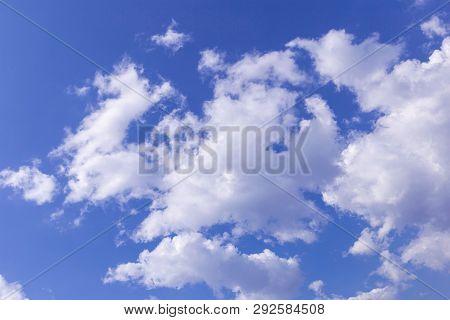 The Vast Blue Sky And Clouds Sky. Blue Sky Background With Tiny Clouds. Blue Sky Panorama. Blue Sky