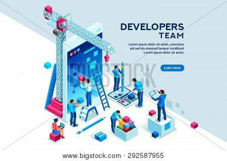 Ui Design Concept With Character And Text For Designer. Device Content Place Infographic. Software G