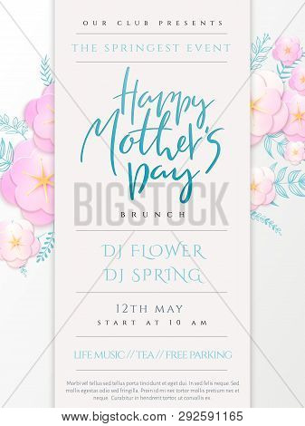 Vector Illustration Of Mothers Day Invitation Party Poster Template With Paper Origami Spring Apple