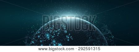 Futuristic Planet Earth. World Map Of Glowing Square Dots. Modern Abstract Background. Space Composi