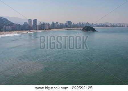 Sao Vicente, Brazil - July 2018:  An Elevated View Shows High Rise Buildings Filling The Landscape A