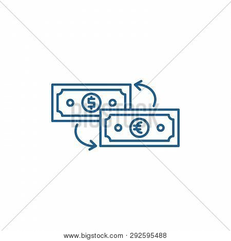 Currency Exchange Line Icon Concept. Currency Exchange Flat  Vector Symbol, Sign, Outline Illustrati