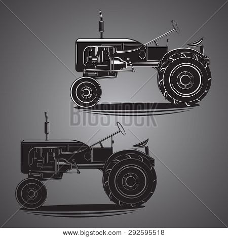 Vintage American Tractor Vector Illustration. Retro Agricultural Machine. Old Farming Equipment