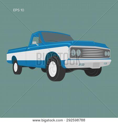 Vintage Pickup Truck Vector Illustration. Oldschool American Car