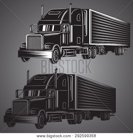Vintage American Truck Vector Illustration. Retro Freighter Truck. Cargo Delivery Machine.