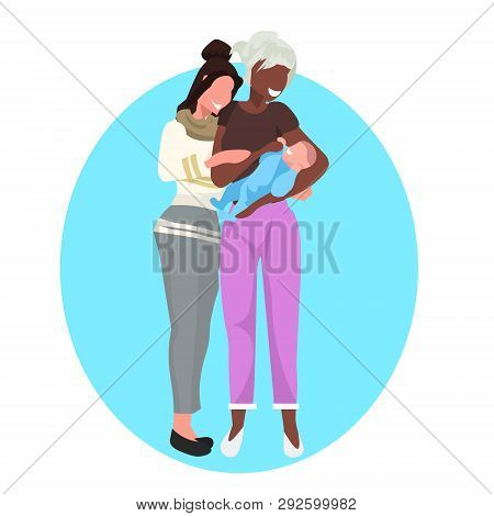 Lesbian Same Gender Couple Mothers With Their Baby Homosexual Family Concept Mix Race Smiling Girls