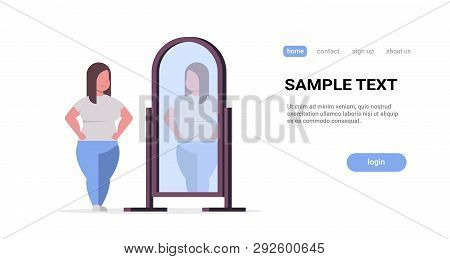 Sad Overweight Woman Looking At Herself Reflection In Mirror Obese Girl Over Size Obesity Concept Fl