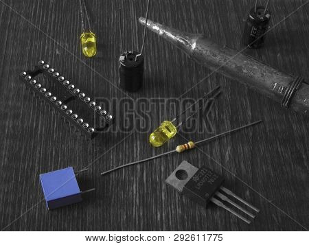 View Of The Electronic Components In Color