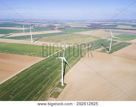 Wind Turbines In Gommerville, Eure-et-loir, Centre-val De Loire, France