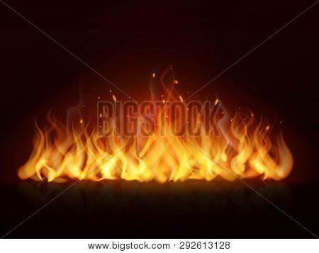 Realistic Flame Line. Burning Fiery Wall Hot Fireplace Flames Warm Fire Blazing Bonfire Effect Red F