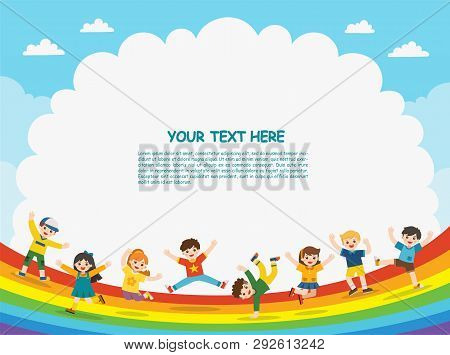 Children's Activities. Happy Children Are Jumping On Rainbow Background.template For Advertising Bro