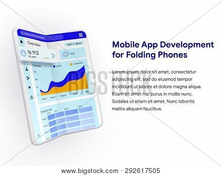 Realistic Folding Smartphone White Color. Isolated Foldable Phone In 3d Style. Mockup For Advertisin