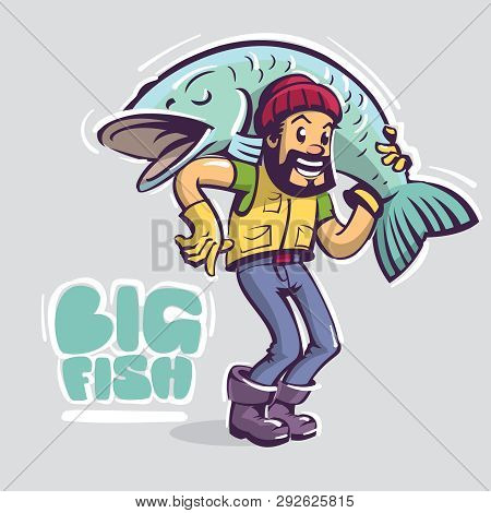 Fisherman Character Hold Big Fish On The Shoulders