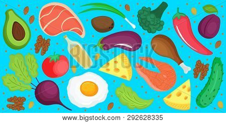 Keto Diet. Ketogenic Low Carb And Protein, High Fat. Horizontal Banner Of Fresh Vegetables, Fish, Ch
