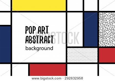 Retro mondrian red yellow blue geometric background. Minimal trendy fashion style poster. Line art design. Abstract neoplasticism. Grid geometry backdrop. poster