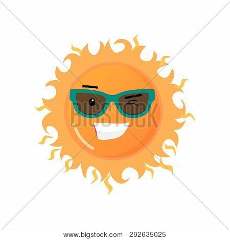 Funny Toothy Smiling Sun In Sunglasses Emoji Sticker Isolated On White Background