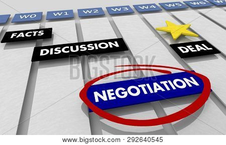 Negotiation to Deal Discussion Compromise Gantt Chart 3d Illustration