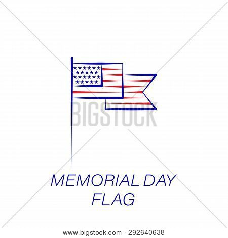 Memorial Day Flag Colored Icon. Element Of Memorial Day Illustration Icon. Signs And Symbols Can Be