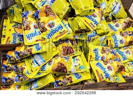 Samara, Russia - March 31, 2019: Packets Cacoa Nesquik As Background Close Up