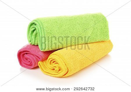 unused and colorful microfiber cloths isolated on white poster