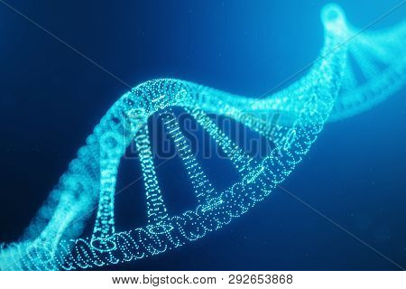 Artifical Intelegence Dna Molecule. Dna Is Converted Into A Digital Code. Digital Code Genome. Abstr