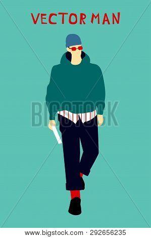 Vector Drawing Of Fashionable Man. Street Modern Youth Style. Man Wearing Hat, Hoody, Glasses, Skinn