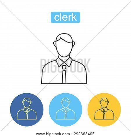 Office Clerk Outline Icons Set. Human Resources Sign For Mobile Application. Corporate Business Peop