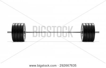 Barbell on white background, including clipping path