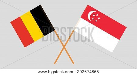 Singapore And Belgium. The Singaporean And  Belgian Flags. Official Colors. Correct Proportion. Vect