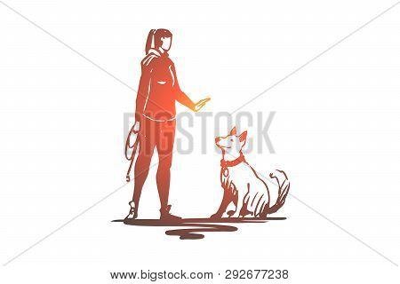 Woman, Pet, Dog, Animal, Training Concept. Hand Drawn Woman Is Training A Dog Concept Sketch. Isolat