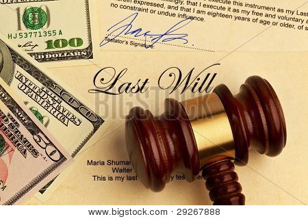 the testament of a deceased person in the english language. last will and inheritance