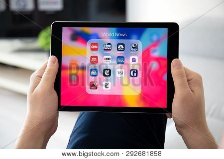 Anapa, Russia - March 26, 2019: Man Hand Holding Ipad Pro With Popular News Applications On The Scre
