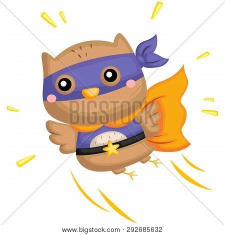 A Vector Of A Cute Owl Wearing Superhero Costume