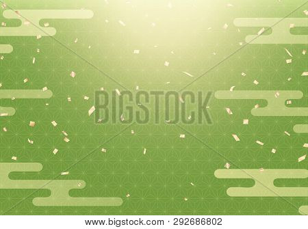 Flying Gold Confetti On Japanese Matcha Background