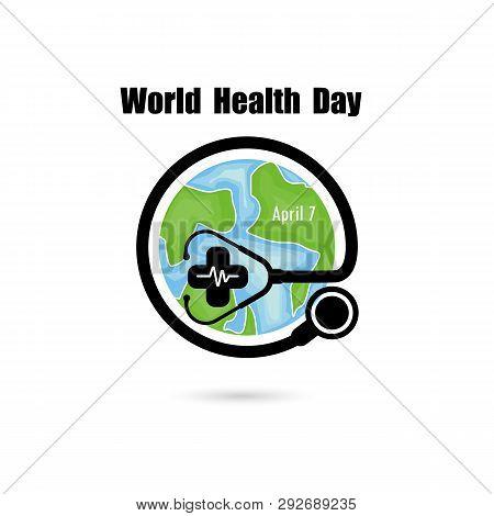 Globe Sign And Stethoscope Vector Logo Design Template.world Health Day Icon.world Health Day Idea C