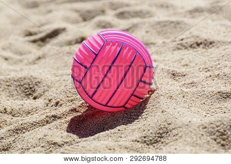 Beach Volleyball Ball At The Beach .pink Ball