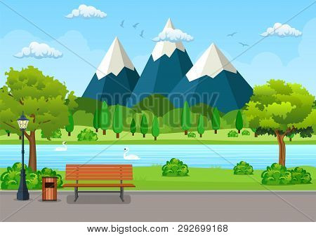 Summer, Spring Day Park. Wooden Bench, Trash Bin And Street Lamp On An Asphalt Park Trail With Lush