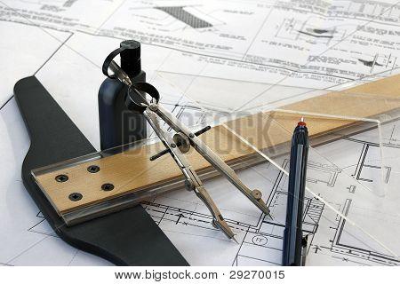 Manual drafting tools before digital age
