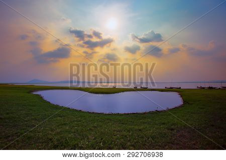 Sunset On The River. Nature River In Sunset. Beautiful Sunset In The Nature In Autumn. Autumn Sunset