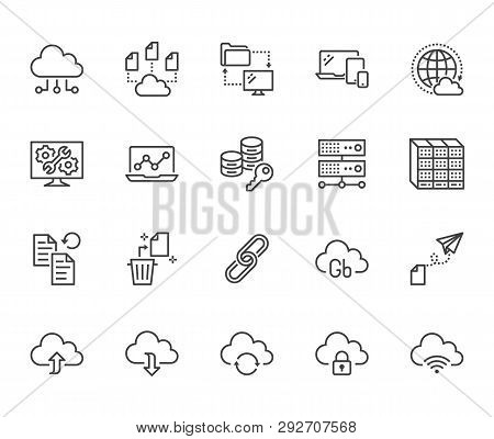 Cloud Data Storage Line Icons Set. Database, Information Storage, Server Center, Global Network, Bac