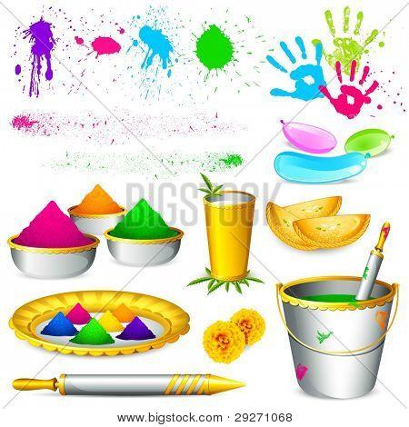 illustration of set of holi element with colors on white background