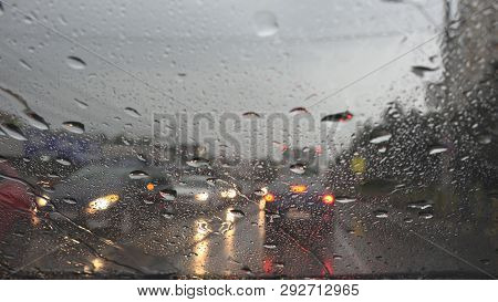 Traffic In Rain In City, Driving Car, Heavy Storm On Road, Highway, Rainy Drops