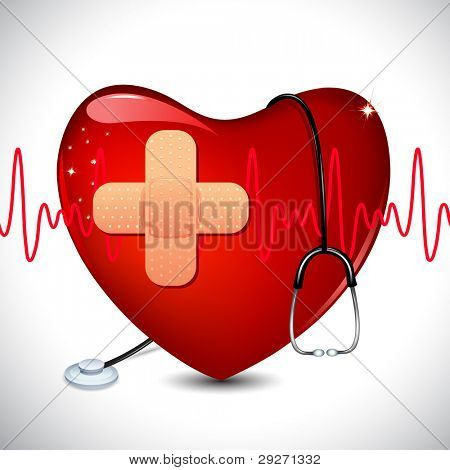 illustration of stethoscope on heart on medical background