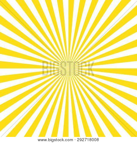 Yellow Stripes Sunrays Background. Sunrays Yellow Color Vector Background.