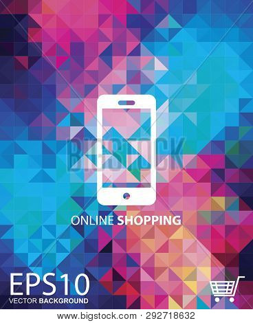 The Mobile Online Shopping With Colorful Background