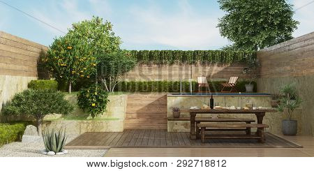 Garden On Two Levels With Old Dininig Table, Wooden Bench And Small Pool On Backgrround - 3d Renderi