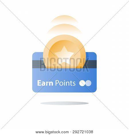 Bonus Card, Loyalty Program, Earn Reward, Redeem Gift, Perks Concept, Vector Icon, Flat Illustration