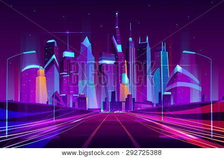 Modern City Highway In Street Lamps Light Neon Cartoon Vector Illustration, Three-way High Speed Mot