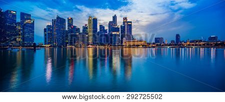 SINGAPORE CITY, SINGAPORE - FEBRUARY 4, 2019:  View at Singapore City Skyline, which is the iconic landmarks of Singapore