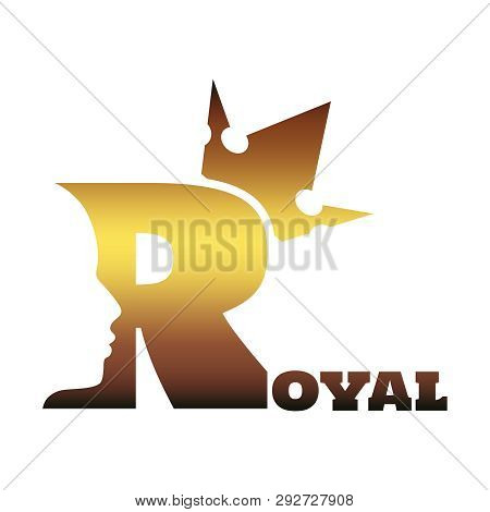 Royal Luxury Emblem. Royal Word. Prince Head Silhouette With Crown. Medieval King Profile. Business